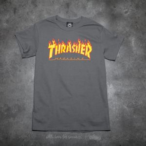 Thrasher Flame Logo T-Shirt Charcoal Gray